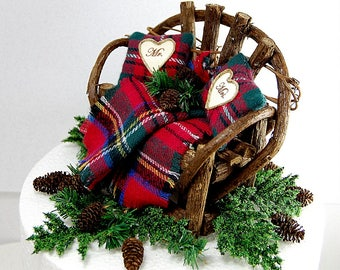 """6""""TOPPER WINTER/CHRISTMAS No Base Fits 6""""Cake Top Royal Stewart Plaid Rustic Country Barn Personalized Custom Made To Order"""