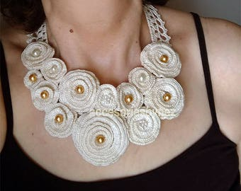 Wedding Necklace/Collar, DIY Crochet necklace, Crochet Pattern,Crochet Flower Necklace Pattern, Crochet Necklace Tutorial, Crochet Jewelry