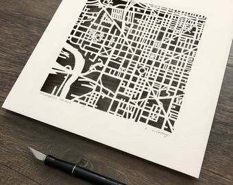 Indianapolis, Indiana hand cut map, 10x10