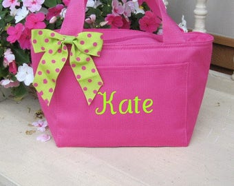 Monogrammed Hot Pink Insulated Womens Lunch Bag Box Cooler Personalized School Girls