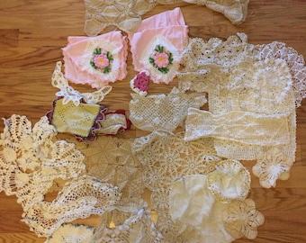 Vintage Lot of 31 Crochet Doilies,  Coasters, Hot Pads,etc gor Repurposing