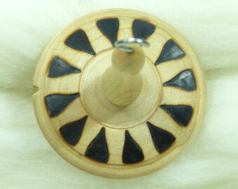 Llina Hand-Turned Maple Pyrograph Drop Spindle Top Whorl 15 Grams
