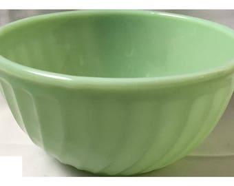 "Vintage Fire King Oven Ware Jadeite Mixing Bowl 9"" Swirl Exterior Green 50s Retro Kitchen Home Decor Mid Century Rare Size USA Pottery Decor"