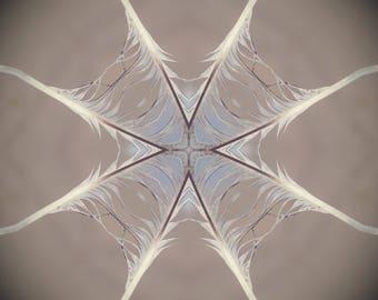Healing Print, home Meditation Positive Energy, Good Vibe Symbol Mandala style, feather blue beige Sacred Geometry universal spiritual decor