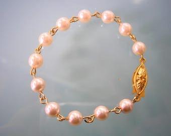 Single Strand Pearl Bracelet, Cream Pearl Bracelet, Pearl Wristlet, Single Strand Bracelet, Bridal Jewelry, Wedding Bracelet, Cream Pearls