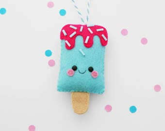 Blue Bubblegum Ice Pop Felt Decoration, Hanging Ornament, Ice Lolly, Home Decor
