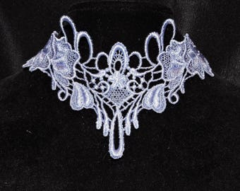 """Necklace Choker Cutom Dye Lacy Fringe 2.5"""" wide Victorian Collar Venise Lace Elegant, Romantic, Country Western Jewerly"""