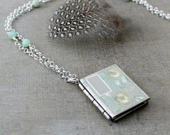 VACATION SALE Silver Book Locket Necklace, Sterling Silver Locket, Vintage Silver Pendant, Silver Photo Locket, Oxidize Silver Necklace, Pus