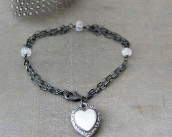 VACATION SALE Silver Charm Bracelet, Heart Charm, Sterling Silver Bracelet, Oxidized Silver Chain Bracelet, Push Present Bracelet, Puffy Hea