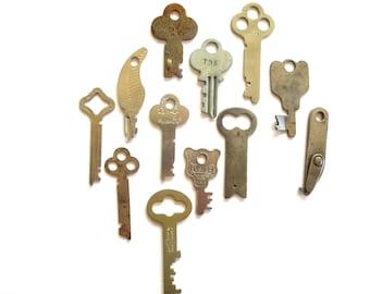12 Vintage keys Antique small flat keys Old and odd keys Odd and old keys Artist keys Collage keys Mixed media key Craft key Unique key #11C