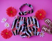 Black and white stripe with peach coral aqua flowers diaper cover bloomers and matching top knot headband babies toddlers