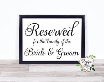 Reserved Sign, Wedding Reserved Sign, Wedding Table Sign, Reserved Table Sign, for the family of the Bride and Groom, Calligraphy Signs