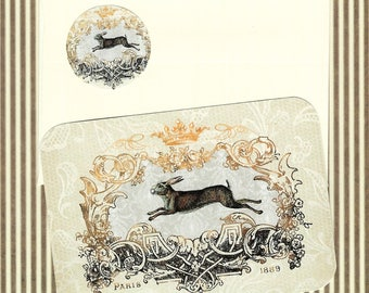 Note Cards, Rabbit Cards, Flat Cards, Vintage Rabbit, Stickers, French Rabbit