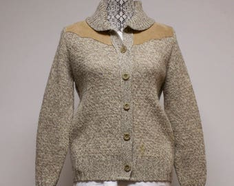 Vintage Women's wool cardigan sweater with western suede accents by Gerry size large