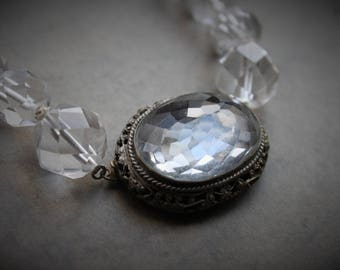 Stunning Victorian Faceted Rock Crystal and Filigree Graduated Choker Necklace / Antique Statement Clasp