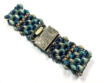 Teal Mint Woven Boho Bracelet, Mint Beaded Boho Bracelet, Teal Mint Brass Bracelet