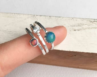 Opal and Blue Topaz Stacking Rings - Gemstone Ring Stack - Opal Ring Stack - Stack of 3 Hammered Sterling Silver Rings - Opal Jewelry