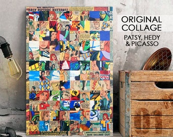 Paper Collage, Patsy Hedy Picasso, recycled comic book, mosaic collage, unique wall art, ooak collage art, decoupage art, vintage comic book