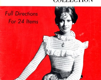 Crochet Collection 24 Items Blouse Baby Shell Sweater Rick Rack Slippers Southwestern Hat Dog Coat Lotus Tablecloth Craft Pattern Leaflet