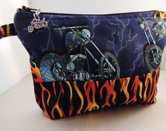Blue Flame Motorcycle Chopper Print Makeup Bag Cosmetic Travel Bag Organizer Bag Cute
