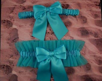 Turquoise Blue Satin Turquoise Tulle Bridal Wedding Garter Toss Set
