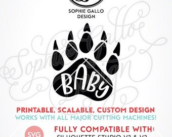 Baby Bear Paw SVG, DXF & PNG digital download files for Silhouette Cricut vector clipart graphic Vinyl Cutting Machine ScreenPrinting