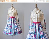 VACATION SALE 50s Dress - Vintage 1950s Dress - Scarf Silk Vivid Floral Border Print Party Dress S M - Briar and the Rose Dress