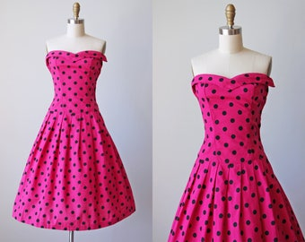 1950s Dress - Vintage 50s Dress - Hot Pink Polka Dots Strapless Bombshell XXS XS - Fit to be Tied Dress