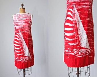 50s Dress - Vintage 1950s Dress - Rare Terrycloth Novelty Print Nautical Sailboat Beach Swimsuit Cover-up M - Sail Away Sundress