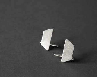 Geometric Silver Earrings, Geometric Stud Earrings, Architectural Earrings, Minimalist Stud Earrings, Statement Earrings, gift for her