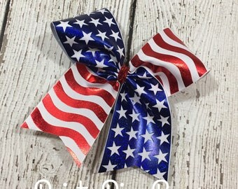 4th of July, Large Flag Cheer Bow, Red White and Blue Bow, Patriotic, Cheerleading, Cheerleading Hair Bow, US Flag Bow, Cheerleading Hairbow