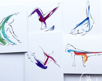 5 Pilates Notecards Pack 2 | Pilates Gift, Unique Gifts, Inspiration Art, Pilates Inspiration