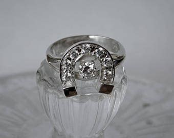 Horseshoe Ring Sterling Silver Hand Fabricated Cubic Zirconia RF990