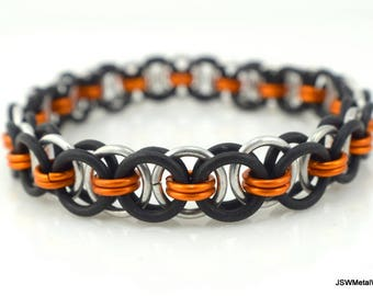 Men's Black and Orange Stretch Chainmail Bracelet, Women Black Stretch Chainmaille Bracelet, Unisex Jewelry, Orange  Bracelet, Gift under 25