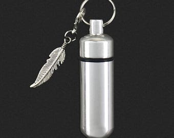 Feather - Ashes Urn - Cremation Necklace - Ashes Holder - Vial Key Chain