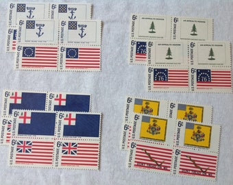 1968 US Postage Stamps Unused Historic American Flags 6 Cents Set of 32