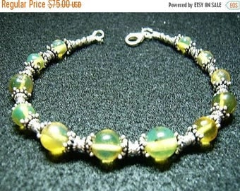 SALE Dominican Blue Amber and Sterling Silver Bracelet