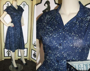 Vintage Galaxy Shirt Dress, 80's Does 50's. Navy with Galaxy Print with Matching Belt. Small XS.