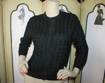 Vintage 1960's Cardigan Sweater in Black Wool Decorative Knit. Medium to Large.