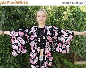 SPRING SALE Kimono Duster, Long Cardigan, Black Duster, Festival Duster Coat, Floor Length, Long Kimono, Black, floral, BOHO Fesitval Summer