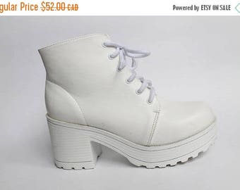 SPRING SALE 90s Platform Shoes, Platform Boots, Chunky White Ankle Boots, White Boots, Block Heel, White Shoes Size 6.5 7 US 37 37.5 Eu Uk 4