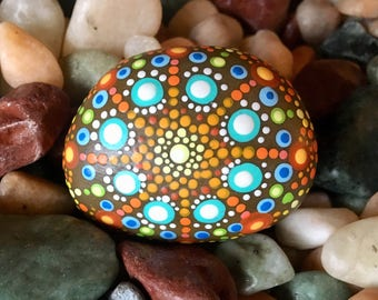 Hand-painted Mandala Stone with Engraving on Reverse Side