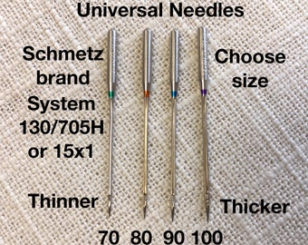 Universal Sewing Machine Needles System 130/705H Schmetz Pack of 10 Choose size 70/10, 80/12, 90/14, 100/16