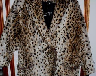 Vintage Leopard Faux Fur Coat Shaytoon England Size M