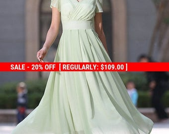 Mint green dress, chiffon dress, prom dress, cap sleeves dress, bridesmaid dress, maxi dress, custom made, plus size available  (990)