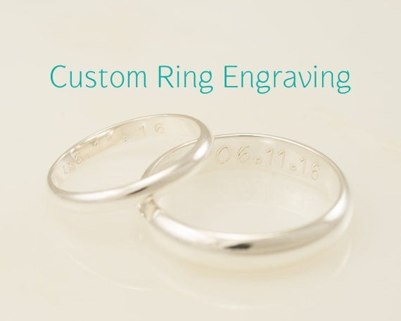 SINGLE Wedding Ring Engraving- Add Custom Ring Engraving- Engraving Inside Ring, Traditional Hand Engraved Technique, Engraved To Order