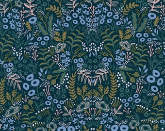 Cotton + Steel - Rifle Paper Co. - Menagerie - RAYON Tapestry in Navy