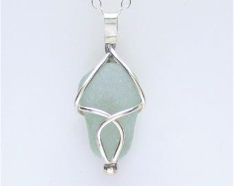 Sea Glass Jewelry - Sterling Caged Seafoam Sea Glass Necklace