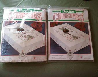 NEW Bucilla Christmas Holiday Tree Cross Stitch Tablecloth & 4 Napkin Set Kits