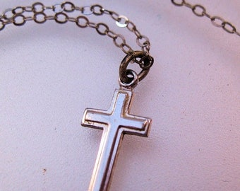 """SHIPS 6/26 w/FREE Jewelry Petite Sterling Cross Pendant Necklace Childrens Cross 15"""" Signed THEDA Vintage Jewelry Jewellery"""